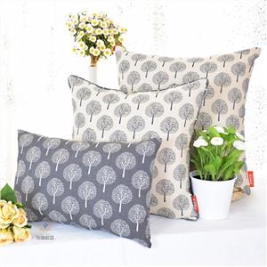 形雅新款植物花卉定制棉麻布枕套咖啡店休闲印花靠套茶艺田园滚边