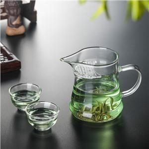 月牙公道杯尖嘴绿茶泡茶杯(高硼硅玻璃)