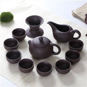 手工制作12头紫砂茶具套装